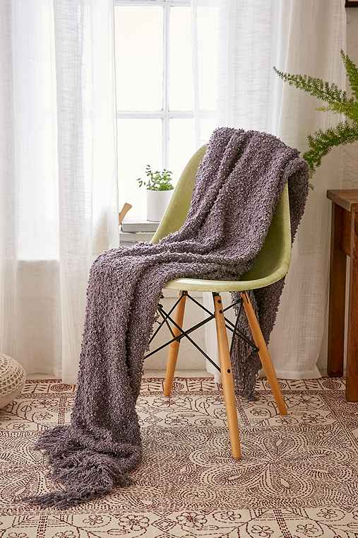 Loopy Knit Throw Blanket,GREY,50X60