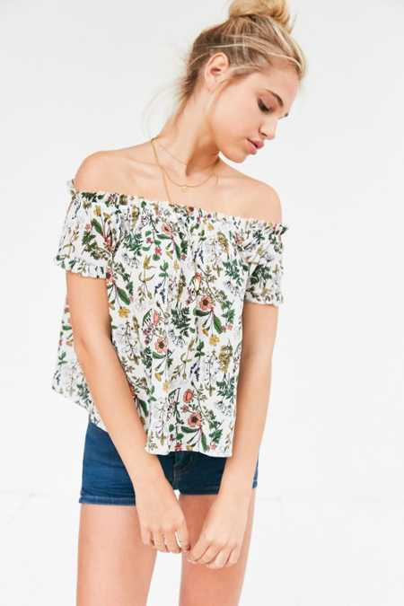 Cooperative Floral Off-The-Shoulder Tee