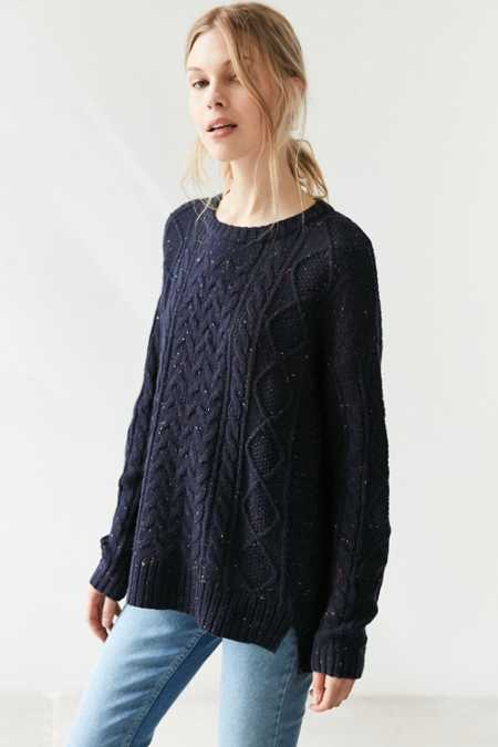 BDG Cable High/Low Crew Neck Sweater