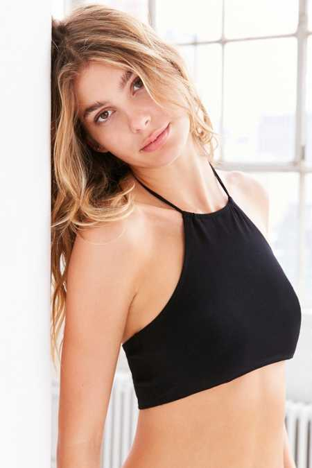 Out From Under Ali Cotton High Neck Halter Bra