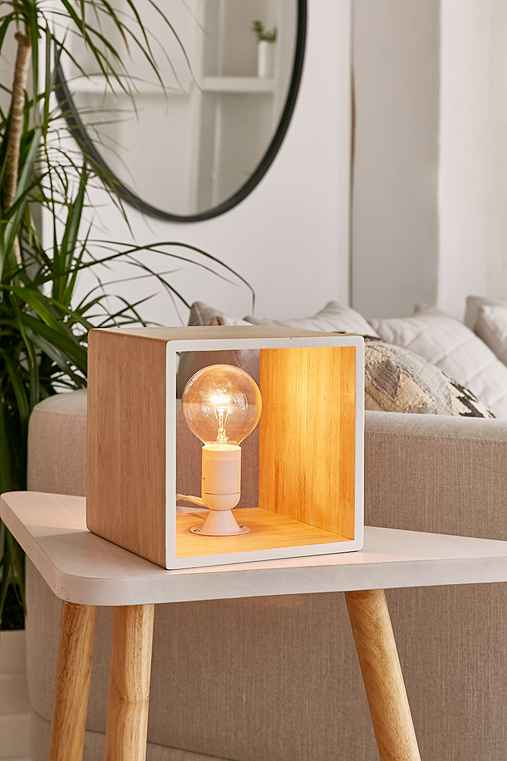 Cube Table Lamp,WHITE,ONE SIZE