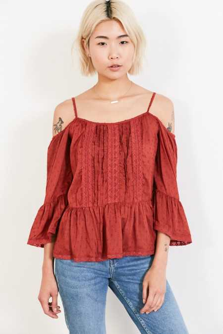 Angie Summer Nights Cold-Shoulder Blouse