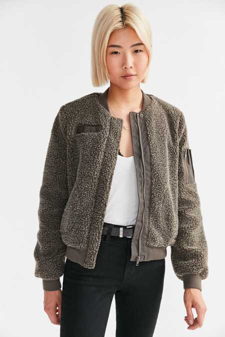 BDG Cozy Teddy Bomber Jacket