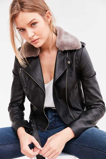 Silence + Noise Vegan Faux Fur Moto Jacket