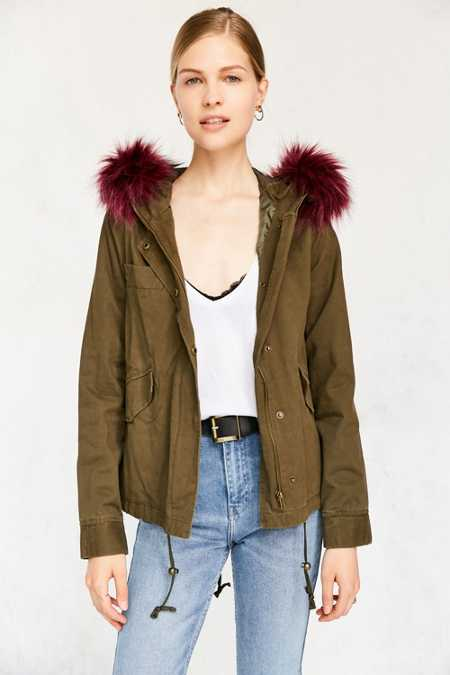 Silence + Noise Bright Nights Faux Fur Anorak Jacket