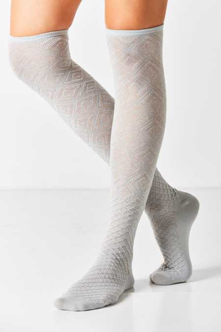 Mixed Geo Over-The-Knee Sock