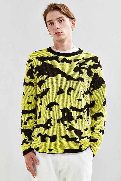 Cheap Monday Moe Pattern Crew Neck Sweater,BLACK,S