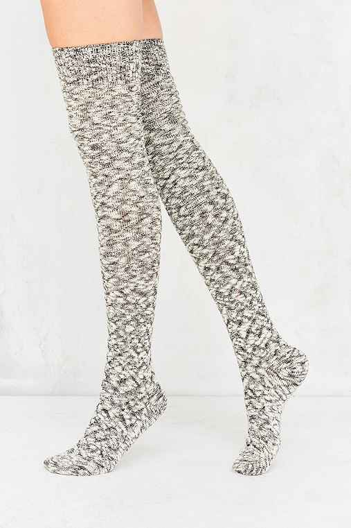 Out From Under Chevron Stitch Thigh High Sock,GREY,ONE SIZE