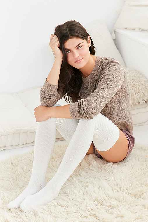 Out From Under Chevron Stitch Thigh High Sock,CREAM,ONE SIZE