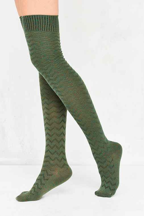 Out From Under Chevron Stitch Thigh High Sock,DARK GREEN,ONE SIZE