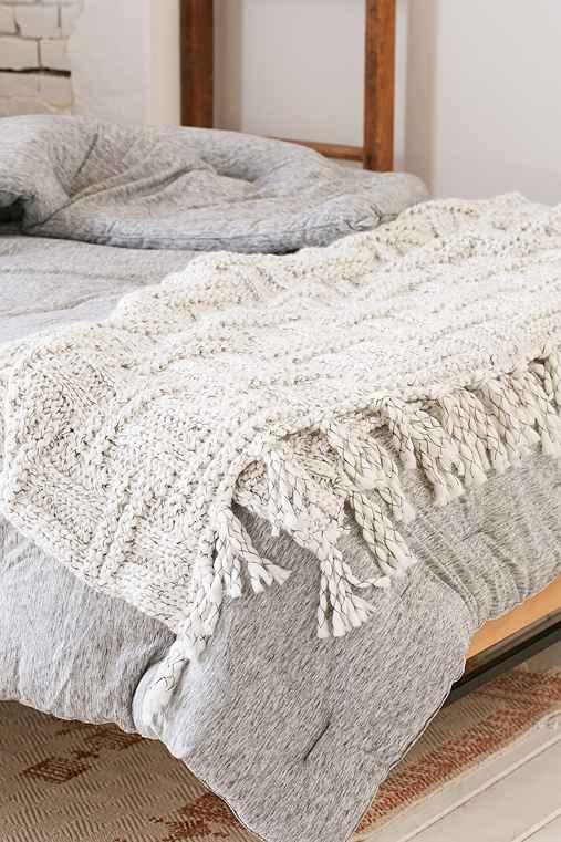 Seed Stitch Knit Throw Blanket,CREAM,50X60