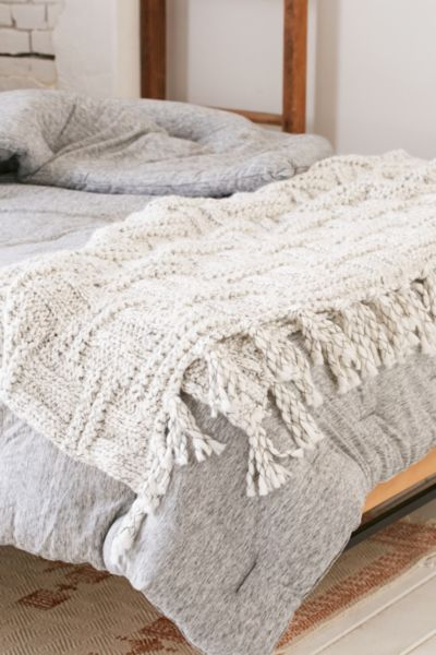 Knitting Pattern For A Throw Blanket : Seed Stitch Knit Throw Blanket - Urban Outfitters
