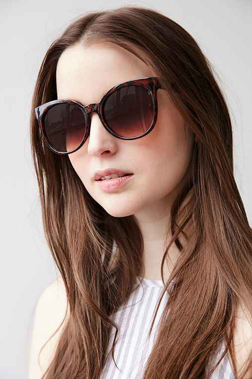 Downtown Preppy Cat-Eye Sunglasses,BROWN,ONE SIZE