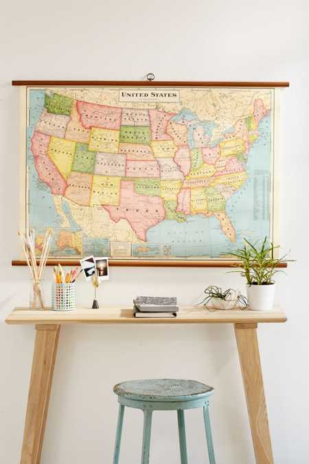 USA Map School Chart Wall Hanging