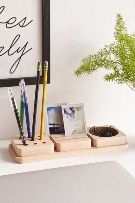 3-Piece Wooden Tray Desk Organizer