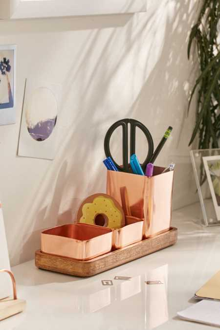 Copper Trio Desk Organizer