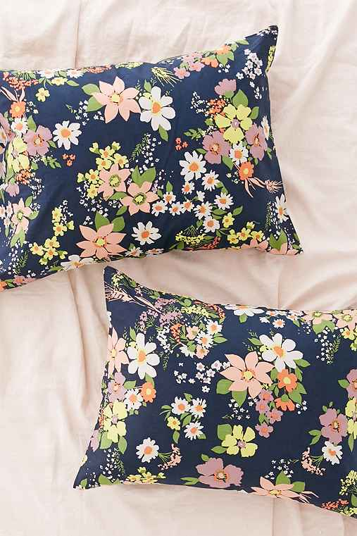 Julia Neon Floral Pillowcase Set,BLUE,ONE SIZE