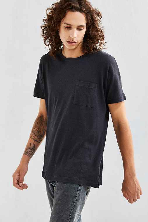 Feathers Cotton Linen Batwing Tee,WASHED BLACK,M
