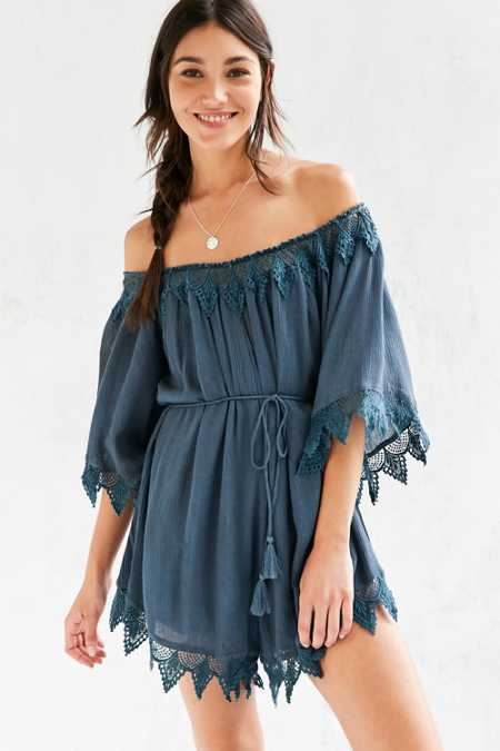 ASTR Seville Embroidered Trim Off-The-Shoulder Romper