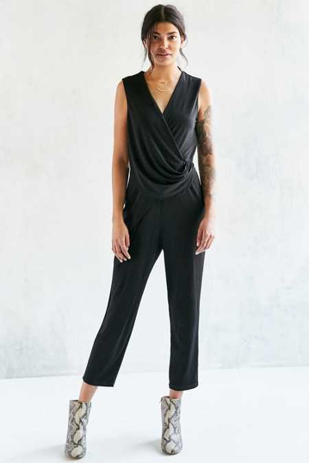 Silence + Noise Slinky Side-Gathered Knit Jumpsuit