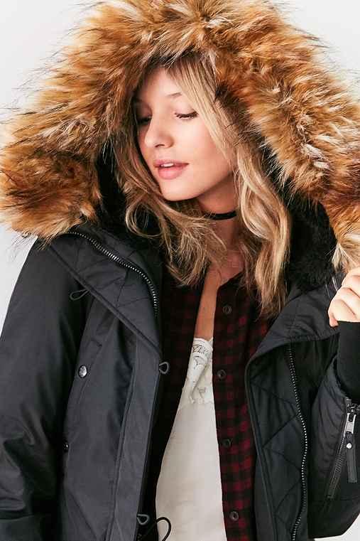 S13 Faux Fur Hooded Parka,BLACK,XS