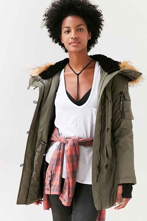 S13 Faux Fur Hooded Parka,OLIVE,M