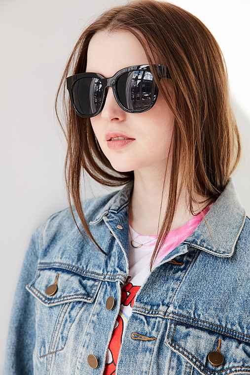 Saturday Sleek Square Sunglasses,BLACK,ONE SIZE