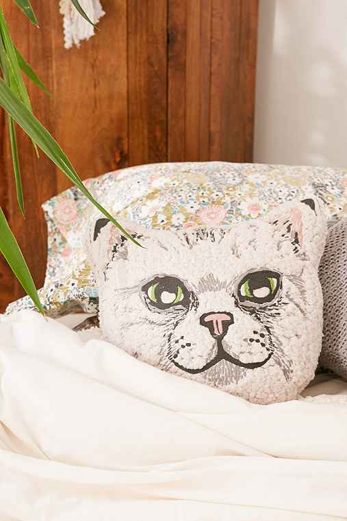 Sherpa Cat Pillow,CREAM,ONE SIZE