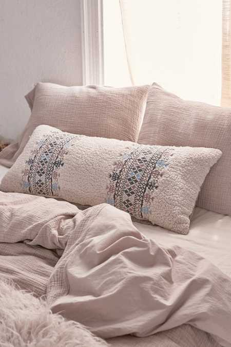 Nadia Sherpa Embroidered Body Pillow