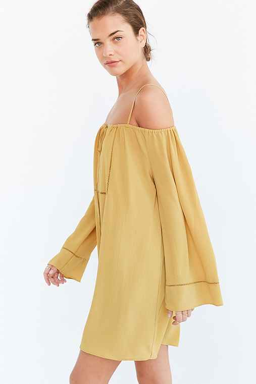 Glamorous Notch-Neck Cold Shoulder Mini Dress,BRIGHT YELLOW,L