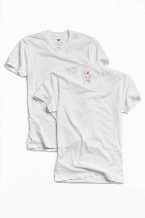Hanes Nano V-Neck Tee 2 Pack,WHITE,XL