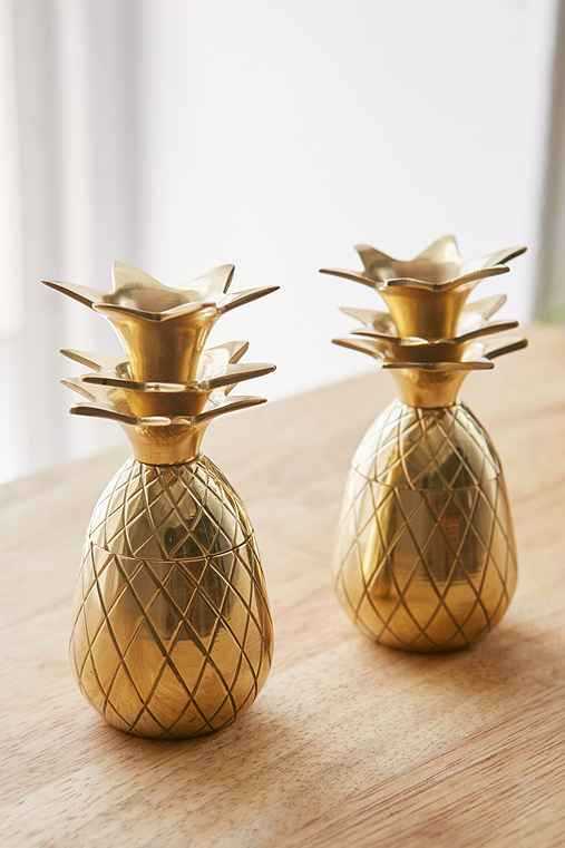 The Pineapple Co. Pineapple Shot Glasses Set,GOLD,ONE SIZE