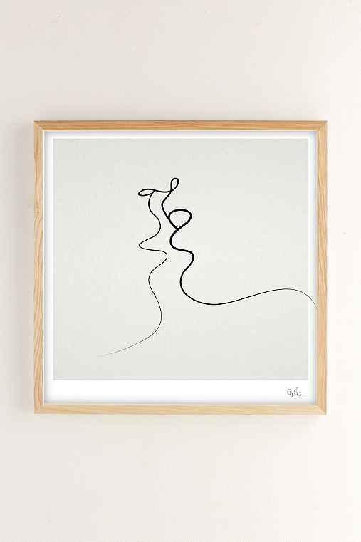 Quibe Kiss Art Print,NATURAL WOOD,16X16