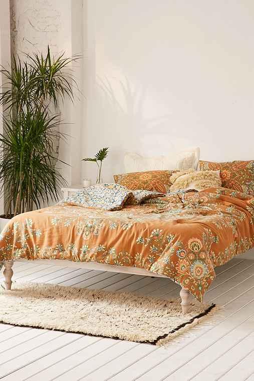 Nessa Floral Medallion Comforter,MUSTARD,TWIN XL