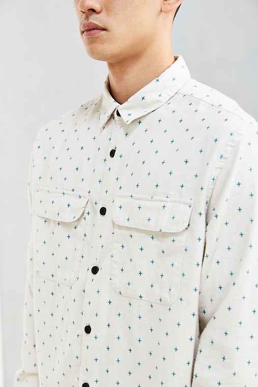 UO Ditsy Cross Print Flannel Button-Down Shirt,WHITE,XS