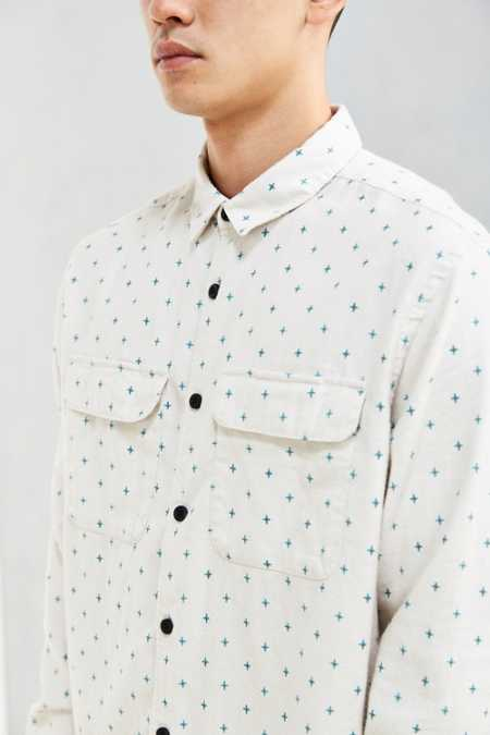 UO Ditsy Cross Print Flannel Button-Down Shirt