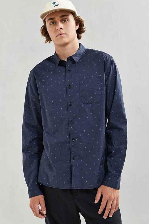 UO Foulard Print Button-Down Shirt,NAVY,M