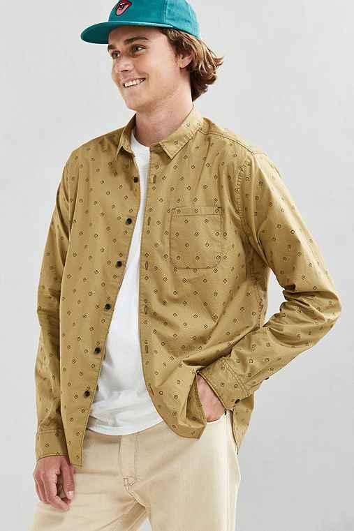 UO Diamond Print Button-Down Shirt,MUSTARD,XS