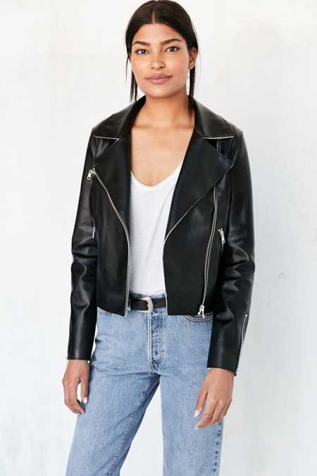 Silence + Noise Raw-Edge Vegan Leather Moto Jacket