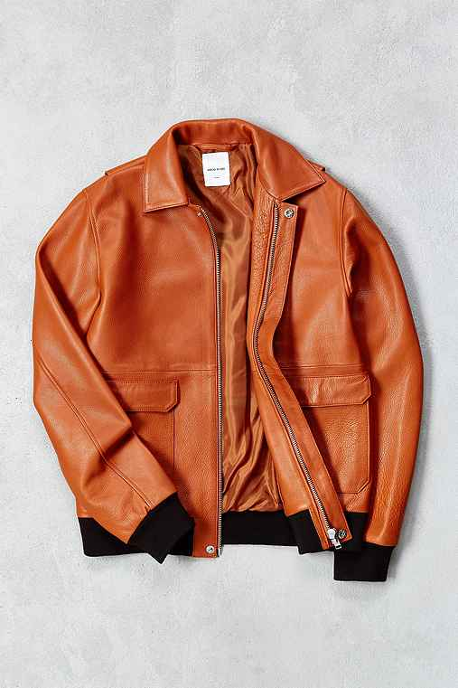 Wood Wood Dean Leather Jacket,COPPER,S