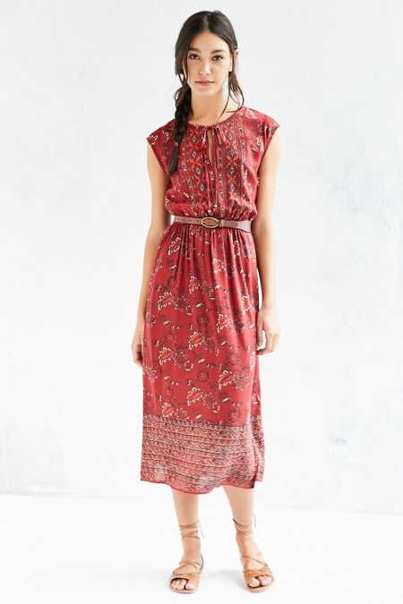 Ecote Split-Neck Mixed Print Midi Dress