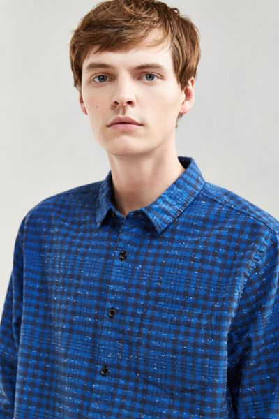 UO Flecked Small Check Flannel Button-Down Shirt
