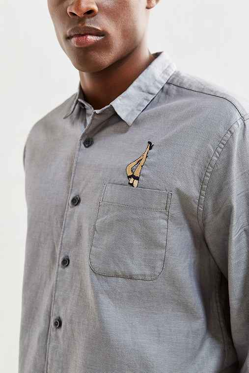 UO Embroidered Dobby Ticking Button-Down Shirt,GREY,L