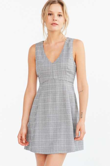 Cooperative Houndstooth Empire Waist Mini Dress