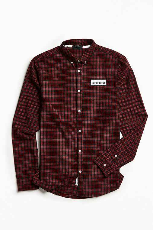 Lazy Oaf Out Of Office Plaid Flannel Button-Down Shirt,RED,M