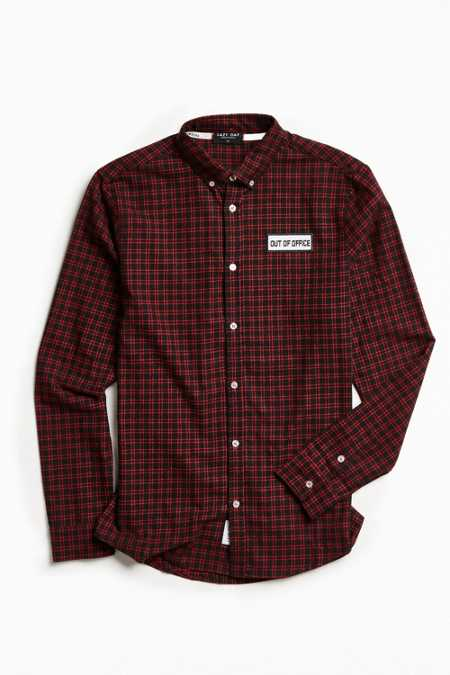 Lazy Oaf Out Of Office Plaid Flannel Button-Down Shirt