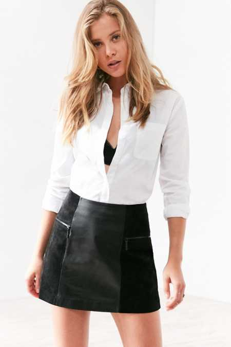Cooperative Bernice Suede Panel Leather Mini Skirt