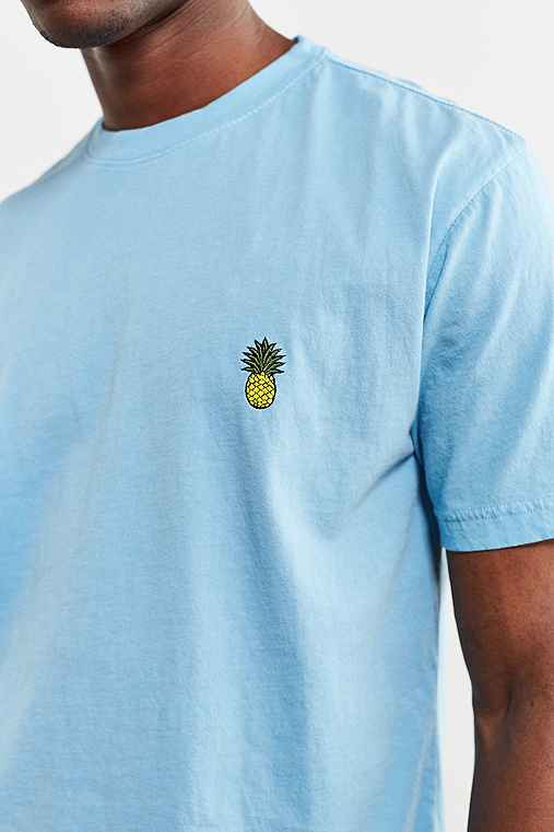 Embroidered Pineapple Tee,SKY,XL