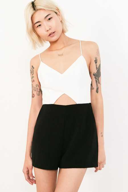 Silence + Noise Strappy Cutout Colorblock Romper
