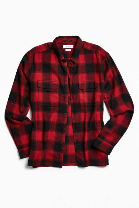 UO Buffalo Shadow Plaid Flannel Button-Down Shirt